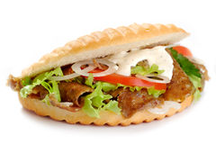 Kebab sandwich. On a white background Stock Photography