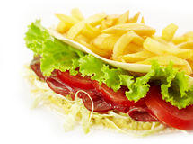 Kebab sandwich and french fries Stock Photos