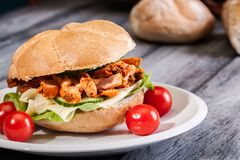 Fried chicken meat with cheese and vegetables in bun Royalty Free Stock Photography