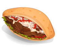 Kebab Sandwich Icon. Illustration of an appetizing cartoon fast food kebab sandwich icon, with beef or sheep meat pieces, onions, salad, bell pepper for takeout Royalty Free Stock Photos