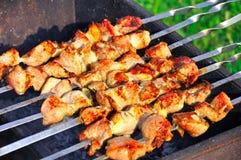 Kebab saporito della griglia su un carbone di legna Immagine Stock