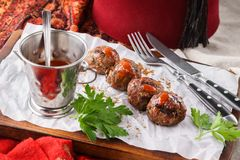 Kebab with sauce. Arabic or mediterranean restaurant concept stock photography