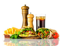 Kebab and Shawarma Sandwich with Cola on White stock photo