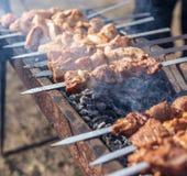 Kebab Shish на протыкальниках зажарено на меднике стоковые фото