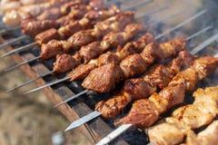 Kebab Shish на протыкальниках зажарено на меднике стоковые изображения rf