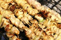 鸡kebab shish 免版税图库摄影