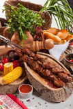 Kebab skewer with decoration in Russian style Stock Image
