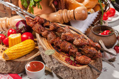 Kebab skewer with decoration in Russian style Stock Photo