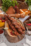 Kebab skewer with decoration in Russian style Royalty Free Stock Image