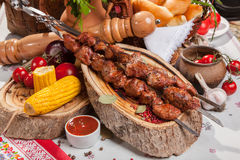 Kebab skewer with decoration in Russian style Royalty Free Stock Images
