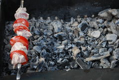 Kebab on skewer over coals Stock Photography