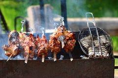 Kebab skewers barbecue Stock Photos