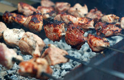 Kebab skewers on the grill close up Stock Photography