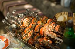 Kebab skewers with vegetables Royalty Free Stock Images
