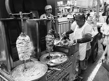 Kebab, Street Food. Yummy chicken kebab stock photo
