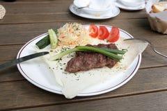 Kebab su pane piano fotografia stock