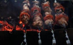 Kebab sugli spiedi e sopra carbone Immagini Stock
