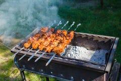 Kebab sul fumo della griglia Fotografie Stock Libere da Diritti