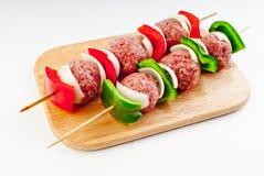 Kebab tagliato dello shish della carne Fotografie Stock