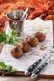 Kebab. Traditional middle eastern, arabic or mediterranean food. With sauce, onion and parsley royalty free stock photos