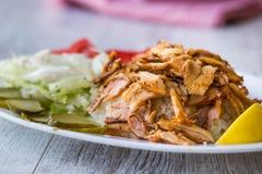 Kebab turco di Doner del pollo con riso immagine stock libera da diritti