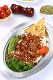 Kebab turco tritato e alinazik della carne Fotografie Stock Libere da Diritti