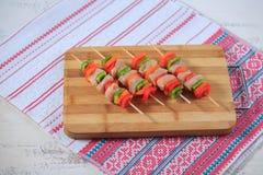 Kebab van kip met peper Stock Fotografie
