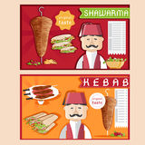 Kebab vector illustration with chef,shawarma and salad Stock Photography