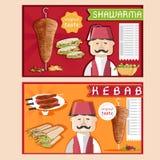 Kebab vector illustration with chef,shawarma and salad Stock Photography