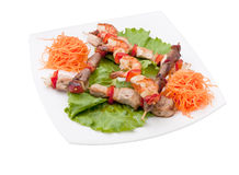 Kebab with vegetables. Meat dish kebab with vegetables and herbs Royalty Free Stock Photo