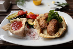 Kebab with vegetables Stock Photos