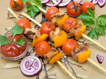 Kebab with vegetables and greens closeup Royalty Free Stock Photo