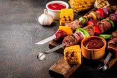 Kebab Veggie и говядины shish Стоковая Фотография