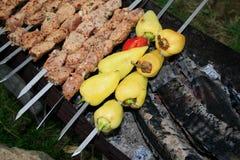 Kebab. Vlees dat op Brand wordt geroosterd Stock Foto's