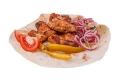 Kebab von den Hühnerflügeln Stockbilder