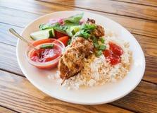 Kebab With Rice Royalty Free Stock Photos