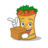 Kebab wrap character cartoon with box. Vector illustration stock illustration