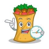 Kebab wrap character cartoon with clock. Vector illustration royalty free illustration