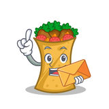 Kebab wrap character cartoon with envelope. Vector art royalty free illustration