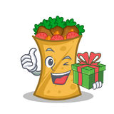 Kebab wrap character cartoon with gift. Vector illustration royalty free illustration