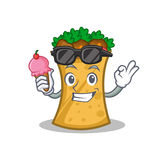 Kebab wrap character cartoon with ice cream. Vector illustration vector illustration