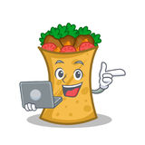 Kebab wrap character cartoon with laptop. Vector art stock illustration