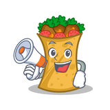Kebab wrap character cartoon with megaphone. Vector illustration royalty free illustration