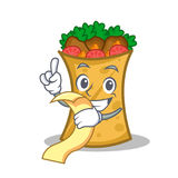 Kebab wrap character cartoon with menu. Vector illustration royalty free illustration