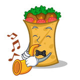 Kebab wrap character cartoon with trumpet. Vector illustration royalty free illustration