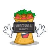 Kebab wrap character cartoon with virtual reality. Vector art royalty free illustration