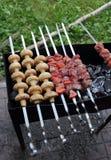 Kebab y setas que asan a la parrilla en los pinchos en los carbones de leña imagenes de archivo