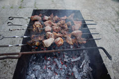 Kebaben förbereder sig på branden utomhus Grillad köttgrillfest på gallret Caucasian maträttsteknålar Arkivbild