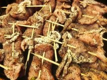 Kebaber för kebaber för griskött för nötkött för BBQ för grillfestgallerkött på steknålar royaltyfri foto