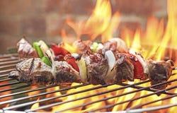 Kebaber på galler Arkivfoto